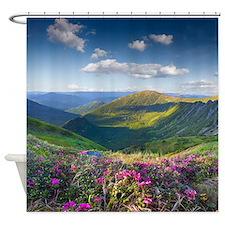 Floral Mountain Landscape Shower Curtain