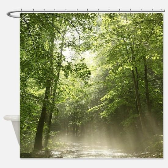 Spring Forest Mist Shower Curtain