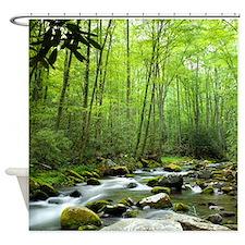Spring Forest Stream Shower Curtain