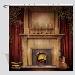Classic Fireplace Shower Curtain