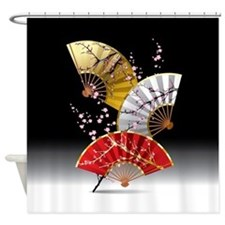 Japanese Cherry Fans Shower Curtain