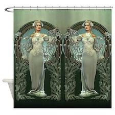 Art Nouveau White Lady Shower Curtain