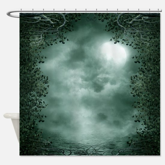 Mystic Green Moonlight Shower Curtain