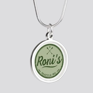 Roni's Bar Logo Silver Round Necklace