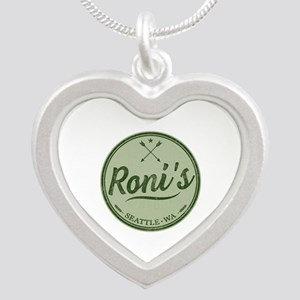 Roni's Bar Logo Silver Heart Necklace