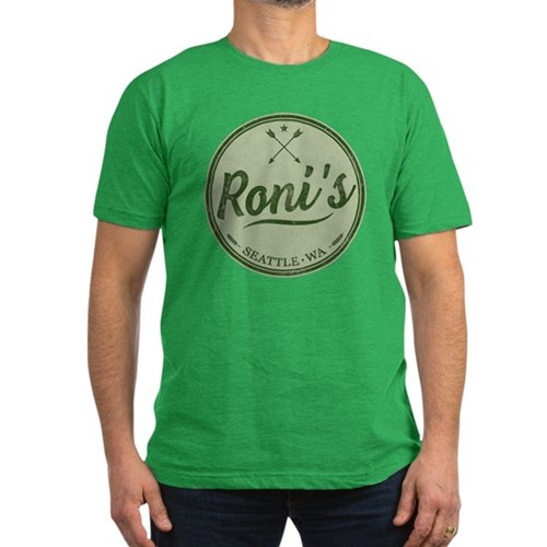 Roni's Bar Logo Men's Dark Fitted T-Shirt