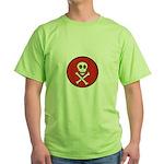 Skull & Crossbones - Red Circle Green T-Shirt