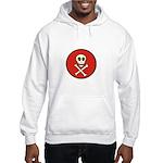 Skull & Crossbones - Red Circle Hooded Sweatshirt