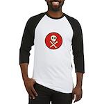 Skull & Crossbones - Red Circle Baseball Jersey