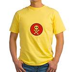 Skull & Crossbones - Red Circle Yellow T-Shirt