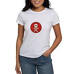 Skull & Crossbones - Red Circle Women's T-Shirt