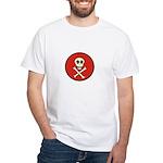 Skull & Crossbones - Red Circle White T-Shirt