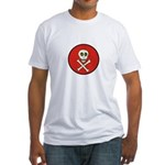 Skull & Crossbones - Red Circle Fitted T-Shirt