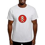 Skull & Crossbones - Red Circle Light T-Shirt