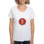 Skull & Crossbones - Red Circle Women's V-Neck T-S