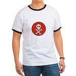 Skull & Crossbones - Red Circle Ringer T