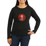 Skull & Crossbones - Red Circle Women's Long Sleev