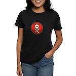 Skull & Crossbones - Red Circle Women's Dark T-Shi