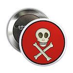 Skull & Crossbones - Red Circle 2.25