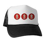 Skull & Crossbones - Red Circle Trucker Hat
