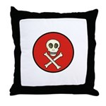 Skull & Crossbones - Red Circle Throw Pillow