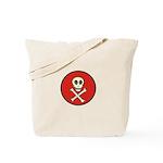Skull & Crossbones - Red Circle Tote Bag