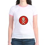 Skull & Crossbones - Red Circle Jr. Ringer T-Shirt