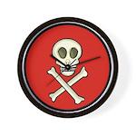 Skull & Crossbones - Red Circle Wall Clock
