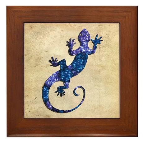 Blue Gecko Framed Tile