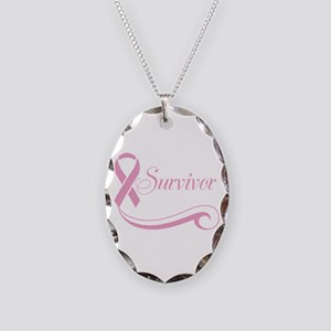 Cancer Survivor Necklace Oval Charm