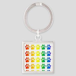 Rainbow Paw Print Pattern Keychains