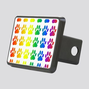Rainbow Paw Print Pattern Rectangular Hitch Cover