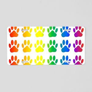 Rainbow Paw Print Pattern Aluminum License Plate
