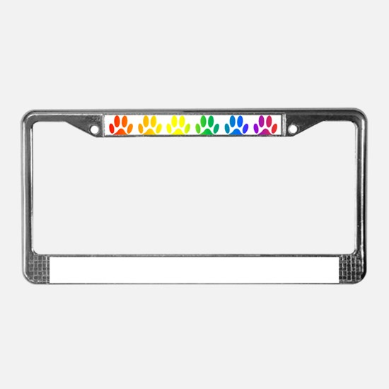 Rainbow Paw Print Pattern License Plate Frame