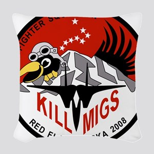 red_flag_60th_mig_killers5 Woven Throw Pillow