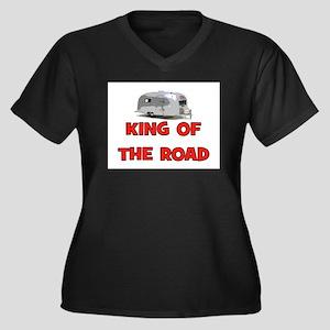 KING OF THE ROAD Women's Plus Size V-Neck Dark T-S