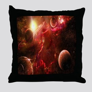 Red Solar System Throw Pillow
