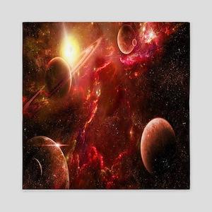 Red Solar System Queen Duvet
