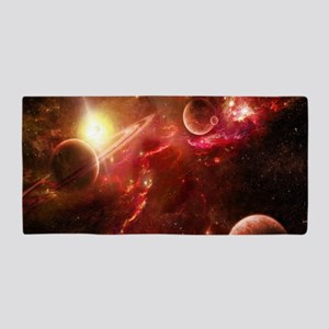 Red Solar System Beach Towel