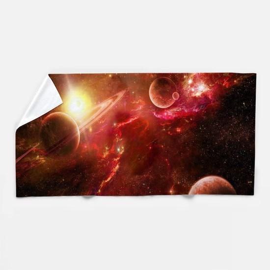 Red Solar System Beach Towel