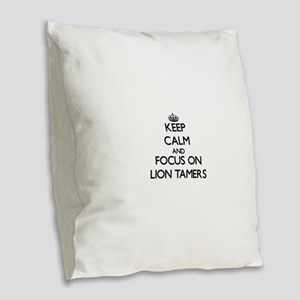 Keep Calm by focusing on Lion Burlap Throw Pillow