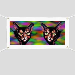 Cat Portrait Watercolor Style Banner