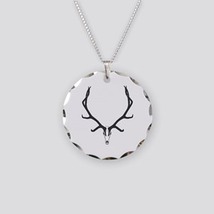 Bull elk skull European moun Necklace Circle Charm