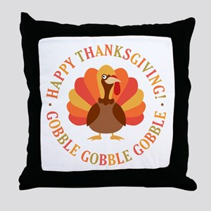Happy Thanksgiving Turkey Throw Pillow