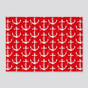 Nautical Anchors Aweigh Red 5'x7'Area Rug