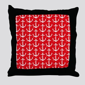 Nautical Anchors Aweigh Red Throw Pillow