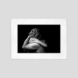 Nude Couple Embrace In The Dark (Lo 5'x7'Area Rug