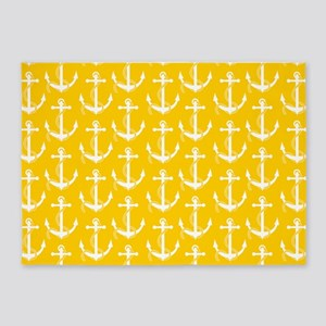 Nautical Anchors Aweigh Yellow 5'x7'Area Rug