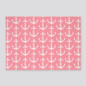 Nautical Anchors Aweigh Pink 5'x7'Area Rug