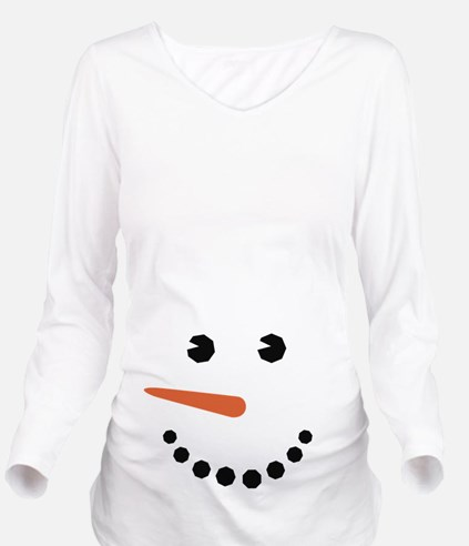 Snowman Belly Funny Long Sleeve Maternity T-Shirt